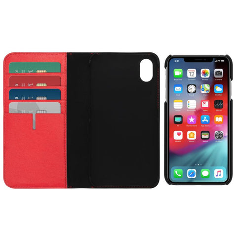 iphone xr leather case wallet card red colour from tumi australia. buy at syntricate and get free express shipping.