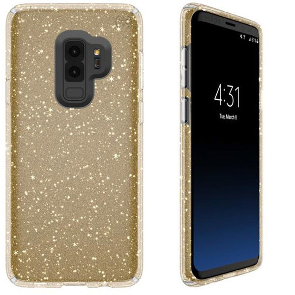 speck presidio clear + glitter impactium case for galaxy s9+ plus - clear/gold