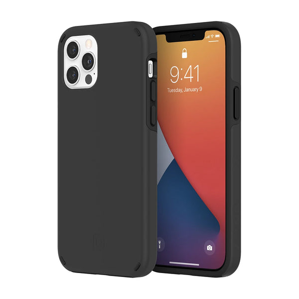 Anti backterial case for your iphone 12 and 12 pro from Incipio Australia. Black minimalist design with drop protection. dual function & germ free