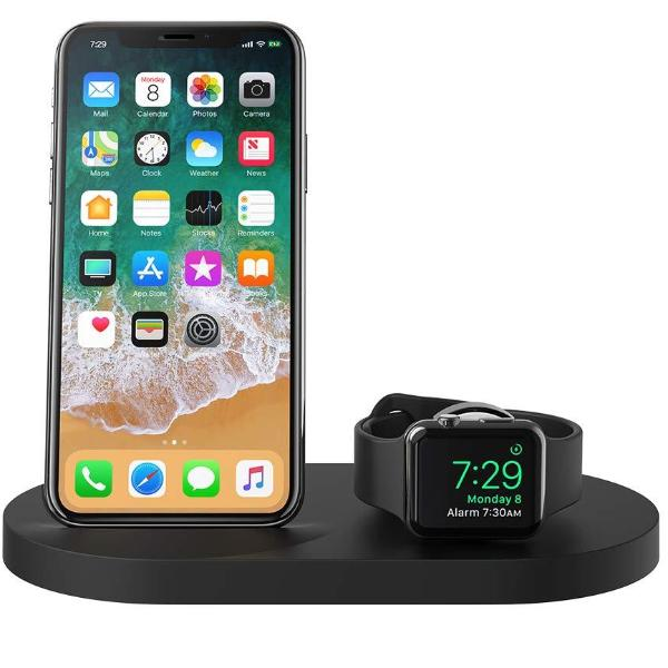BELKIN BOOSTUP WIRELESS CHARGING DOCK FOR IPHONE + APPLE WATCH + USB-A PORT - BLACK