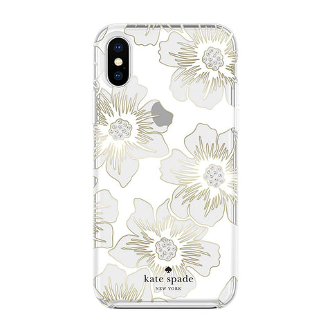KATE SPADE NEW YORK PROTECTIVE HARDSHELL CASE FOR IPHONE XS MAX - FLORAL PRINT/CLEAR/STONES