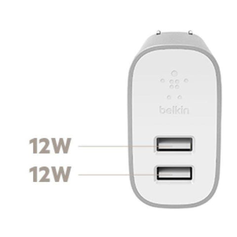 BELKIN BoostCharge 2-Port Home Charger + Lightning to USB-A Cable - Silver