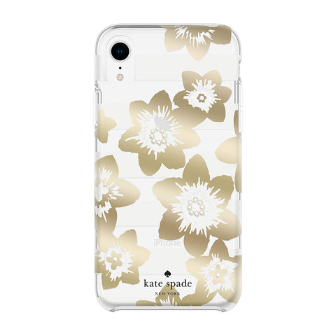 cute case with gold flower pattern for iphone xr. shop online at australia biggest online store of kate spade cases