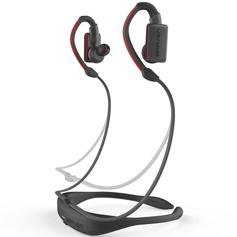 BRAVEN FLYE SPORT POWER BLUETOOTH EARBUDS - GREY/RED