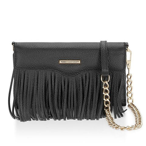 Rebecca Minkoff Universal Fringe Tech Leather Crossbody - Black Pebble