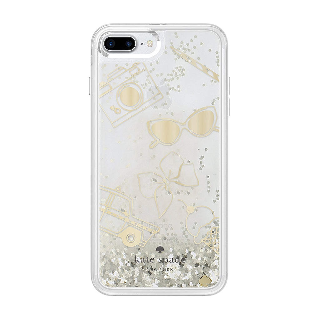 KATE SPADE NEW YORK LIQUID GLITTER CASE FOR IPHONE 8 PLUS/7 PLUS - FAVOURITE THING GOLD/CLEAR Australia Stock