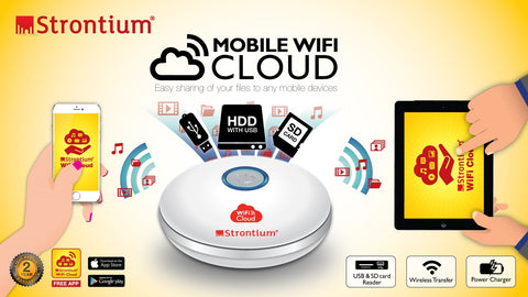 STRONTIUM MOBILE WiFi CLOUD PORTABLE MEDIA HUB FOR YOUR MOBILE DEVICES