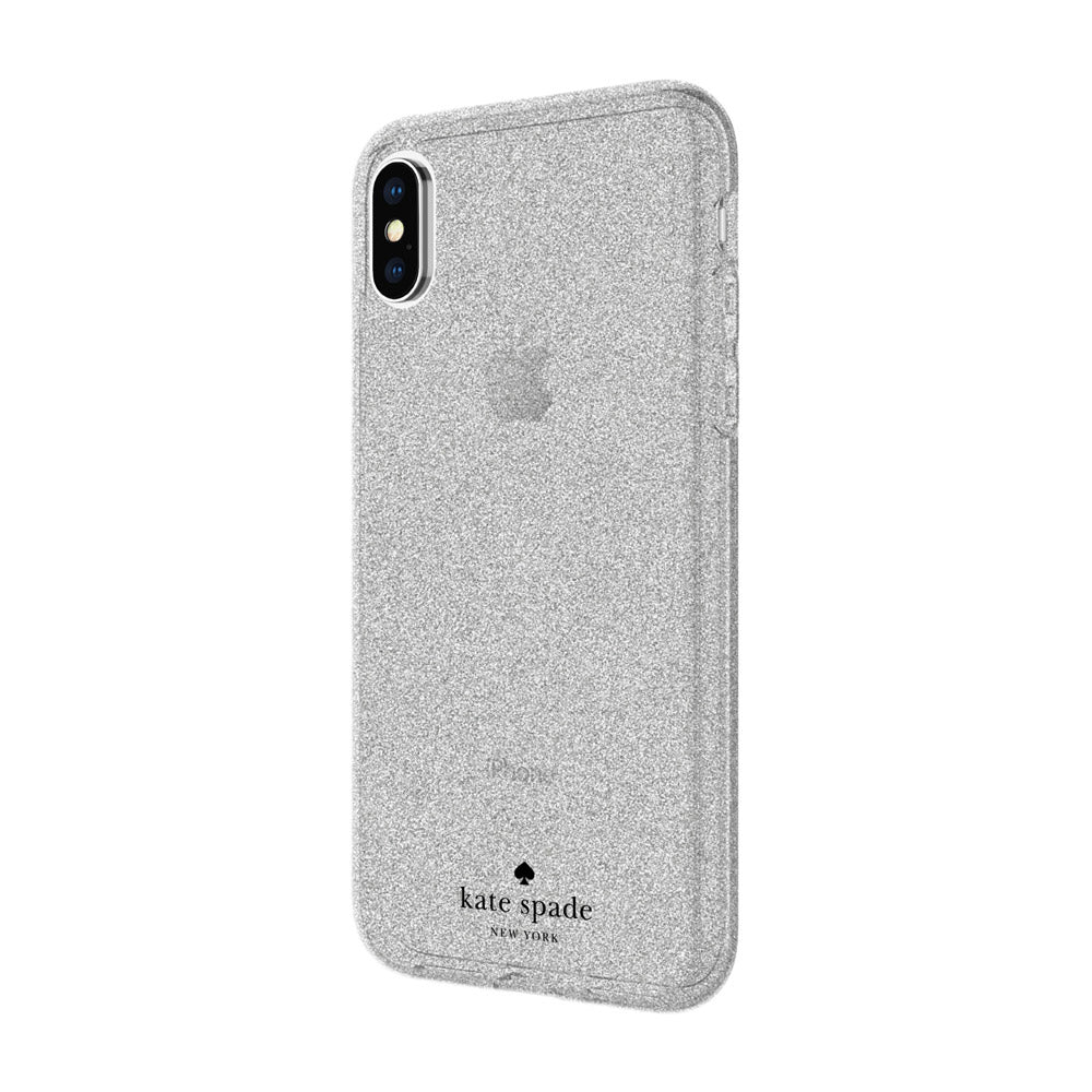 KATE SPADE NEW YORK FLEXIBLE GLITTER CASE FOR IPHONE XS/X - SILVER Australia Stock