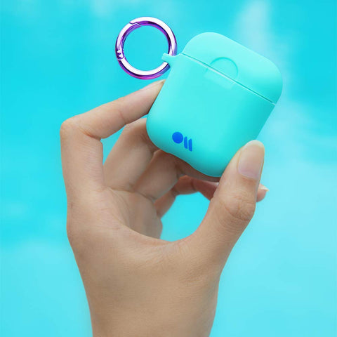 CASEMATE Neon AirPods Hook Ups Case and Neck Strap - Aqua Blue