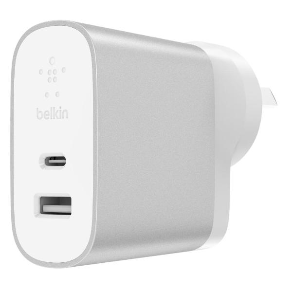 Grab it fast BOOST CHARGE 27W USB-C + 12W USB-A WALL CHARGER - SILVER FROM BELKIN with free shipping Australia wide.