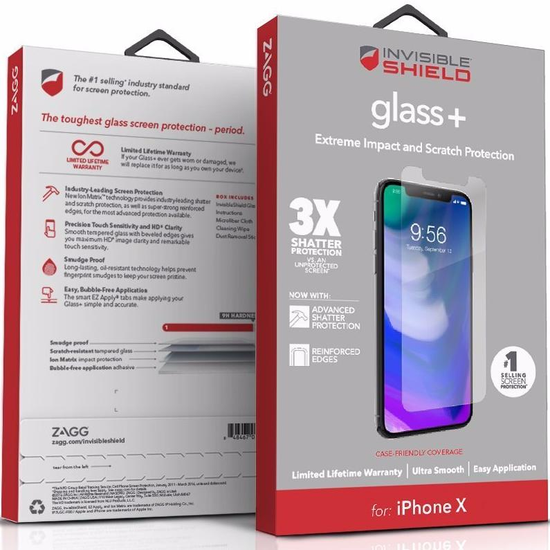 new product 4c3bd 45072 ZAGG INVISIBLESHIELD GLASS + TEMPERED SCREEN PROTECTOR FOR iPHONE X/XS