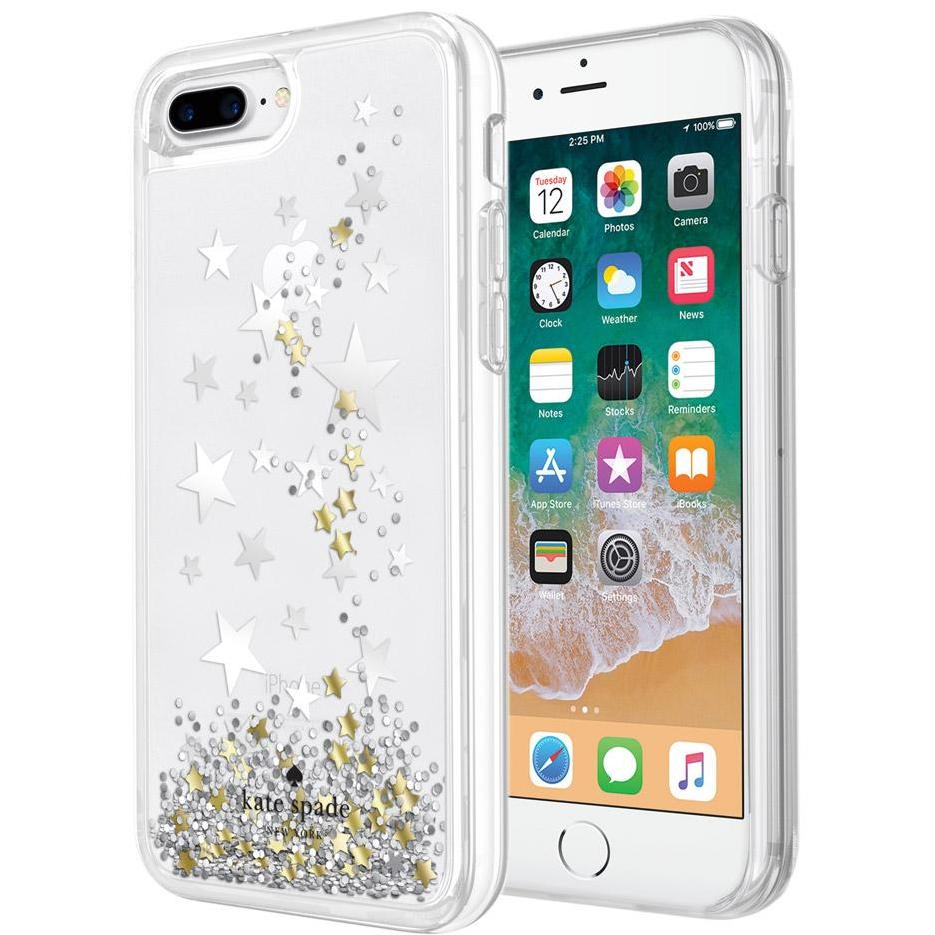 place and store to buy online cute fashionista Kate Spade New York Liquid Glitter Case For Iphone 8 Plus/7 Plus - Stars/Gold/Silver. Athorized and official distributor with free shipping australia wide. Australia Stock
