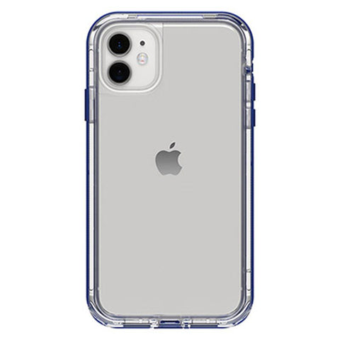 back view iphone 11 case from lifeproof with blue bumper