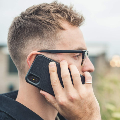 stylish black leather case from Mous for iPhone Xs & iPhone X
