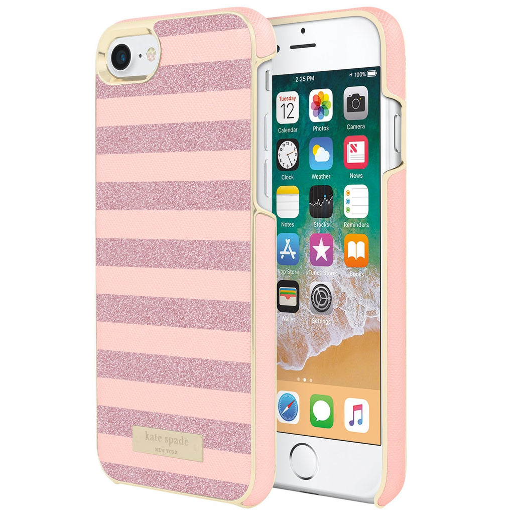 place to buy online Kate Spade New York Wrap Glitter Stripe Case For Iphone 8/7- Rose Quartz Saffiano/Rose Gold free shipping australia Australia Stock