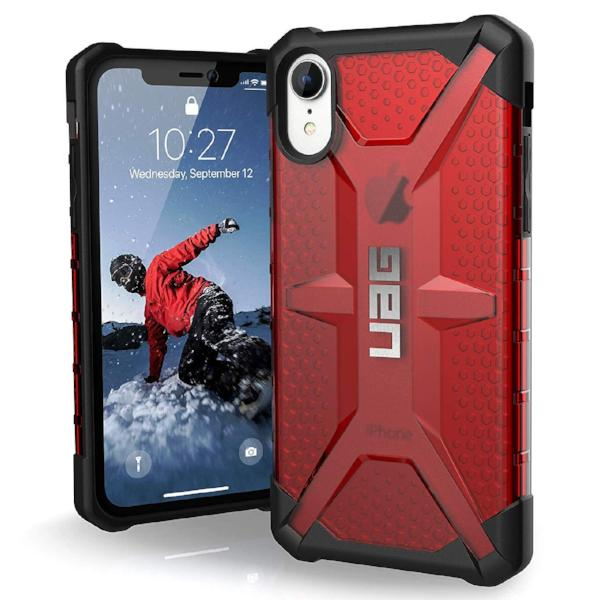 iphone xr case wirh military drop test standards from uag australia. red colour. shop now at syntricate australia with free shipping australia wide.