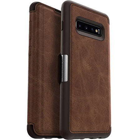 folio leather case with card slots for samsung galaxy s10 plus. brown color from otterbox australia