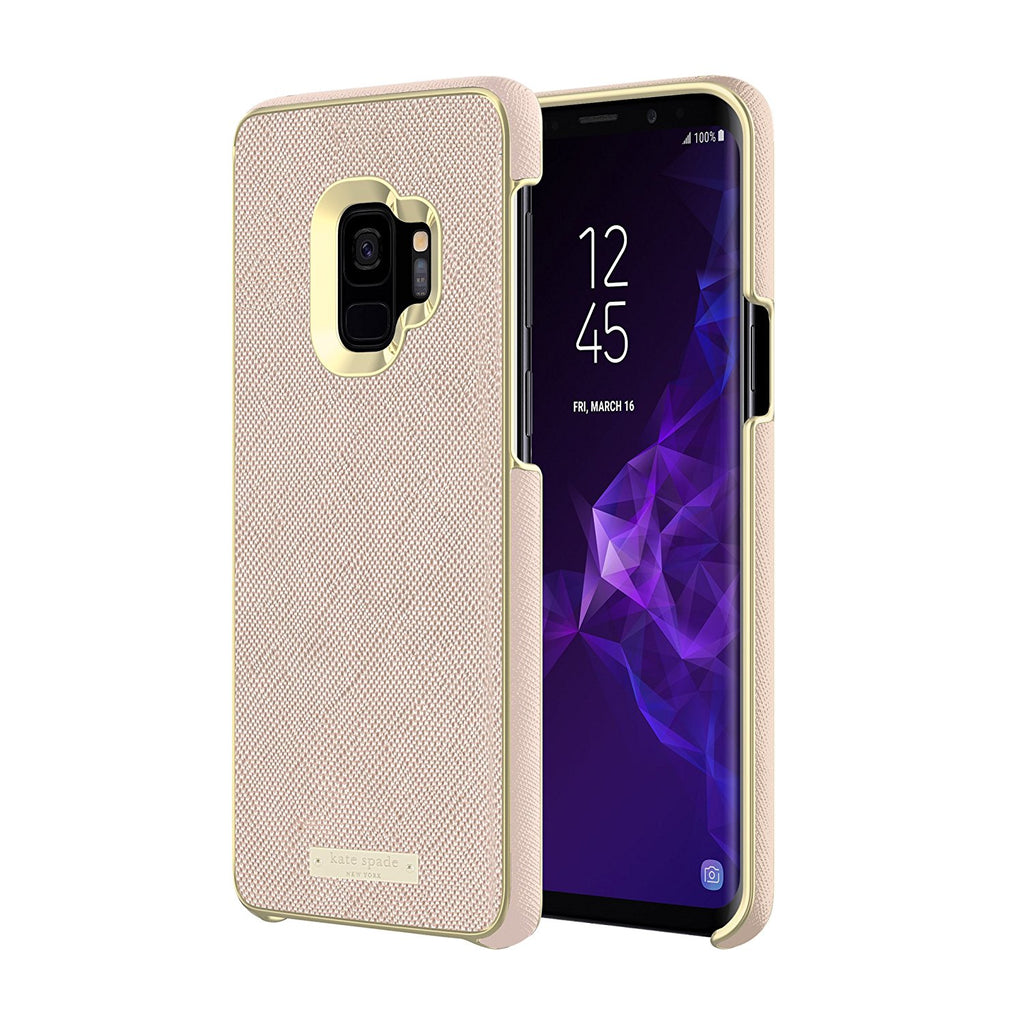 new products 59083 744cc KATE SPADE NEW YORK WRAP INLAY CASE FOR GALAXY S9 - SAFFIANO ROSE GOLD/GOLD  LOGO PLATE