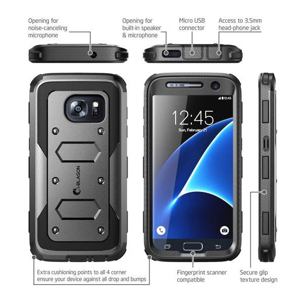 I-BLASON ARMORBOX DUAL LAYER HYBRID FULL-BODY CASE FOR GALAXY S7 - BLACK Australia Stock