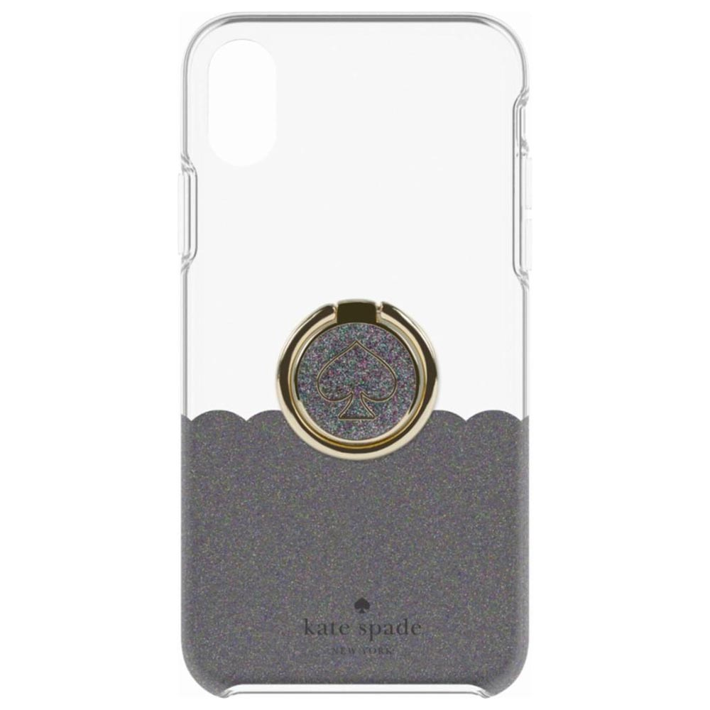 super popular 778aa 6cab8 KATE SPADE NEW YORK GIFT SET PROTECTIVE CASE & RING STAND FOR IPHONE XR -  SCALLOP BLACK MULTI GLITTER/CLEAR