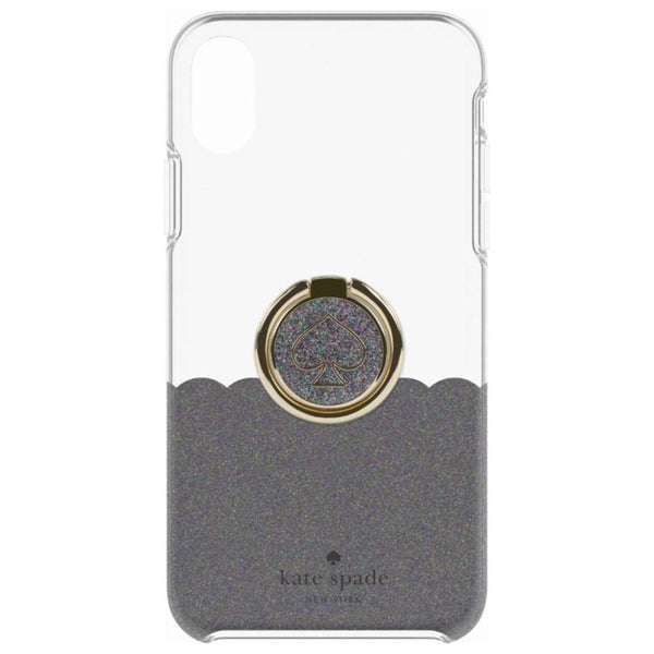 super popular 77b2e b455b KATE SPADE NEW YORK GIFT SET PROTECTIVE CASE & RING STAND FOR IPHONE XR -  SCALLOP BLACK MULTI GLITTER/CLEAR