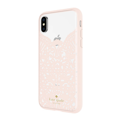 KATE SPADE NEW YORK LACE CAGE CASE FOR IPHONE XS/X - HUMMINGBIRD BLUSH AND CLEAR