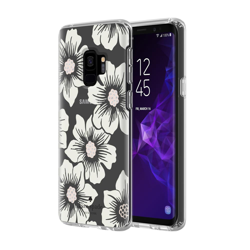 separation shoes 430fd 6e601 KATE SPADE NEW YORK PROTECTIVE HARDSHELL CASE FOR GALAXY S9 - HOLLYHOCK  FLORAL CLEAR/CREAM WITH STONES