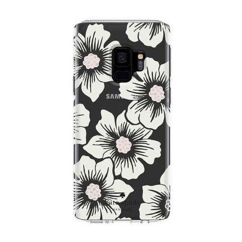 KATE SPADE NEW YORK PROTECTIVE HARDSHELL CASE FOR GALAXY S9 - HOLLYHOCK FLORAL CLEAR/CREAM WITH STONES