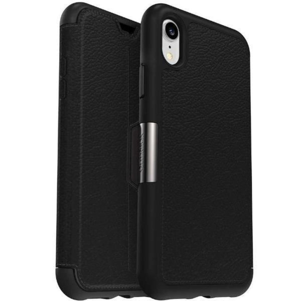 buy leather case black colour with card slot for iphone xr