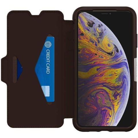 folio case brown colour with card slot for iphone xs max