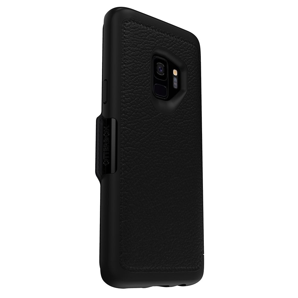 leather folio case woth card slot for samsung galaxy s9 black colour Australia Stock
