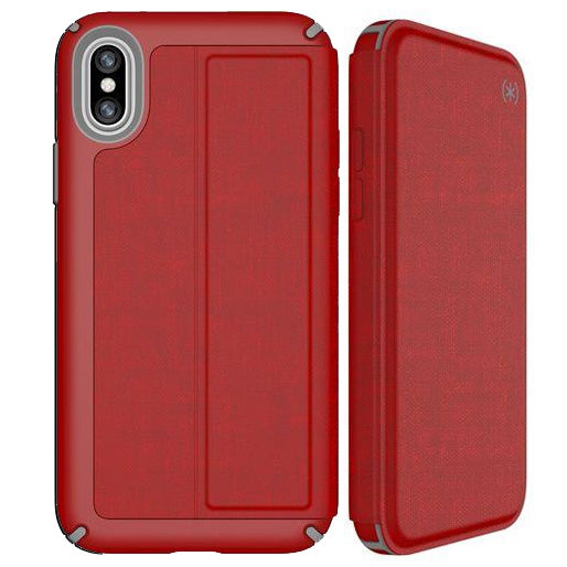 the best attitude a75d3 1e761 SPECK PRESIDIO CARD FOLIO CASE FOR IPHONE XS/X - RED/GREY