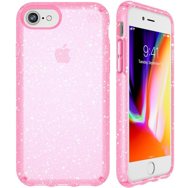 buy cute case from Speck Presidio Clear Glitter Case For Iphone 8 - Bella Pink/Gold. Free shipping australia wide.
