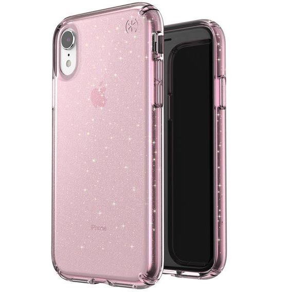 clear case with glitter for iphone xr pink colour from speck