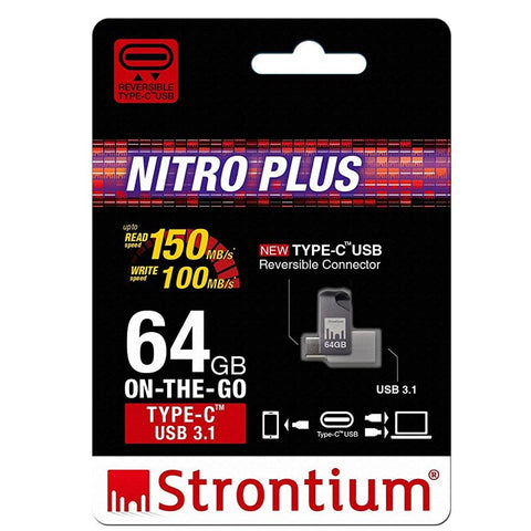 Strontium Nitro Plus Otg 64gb Type-c Usb 3.1 Flash Drive