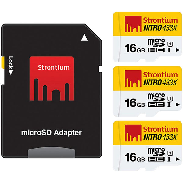 STRONTIUM 16GB MICRO SD NITRO UHS-1 WITH SD ADAPTER 3 CARD PACK for your smartphone