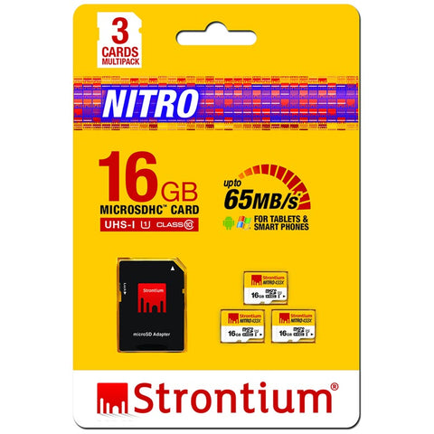 Best place to buy STRONTIUM 16GB MICRO SD NITRO UHS-1 WITH SD ADAPTER 3 CARD PACK australia