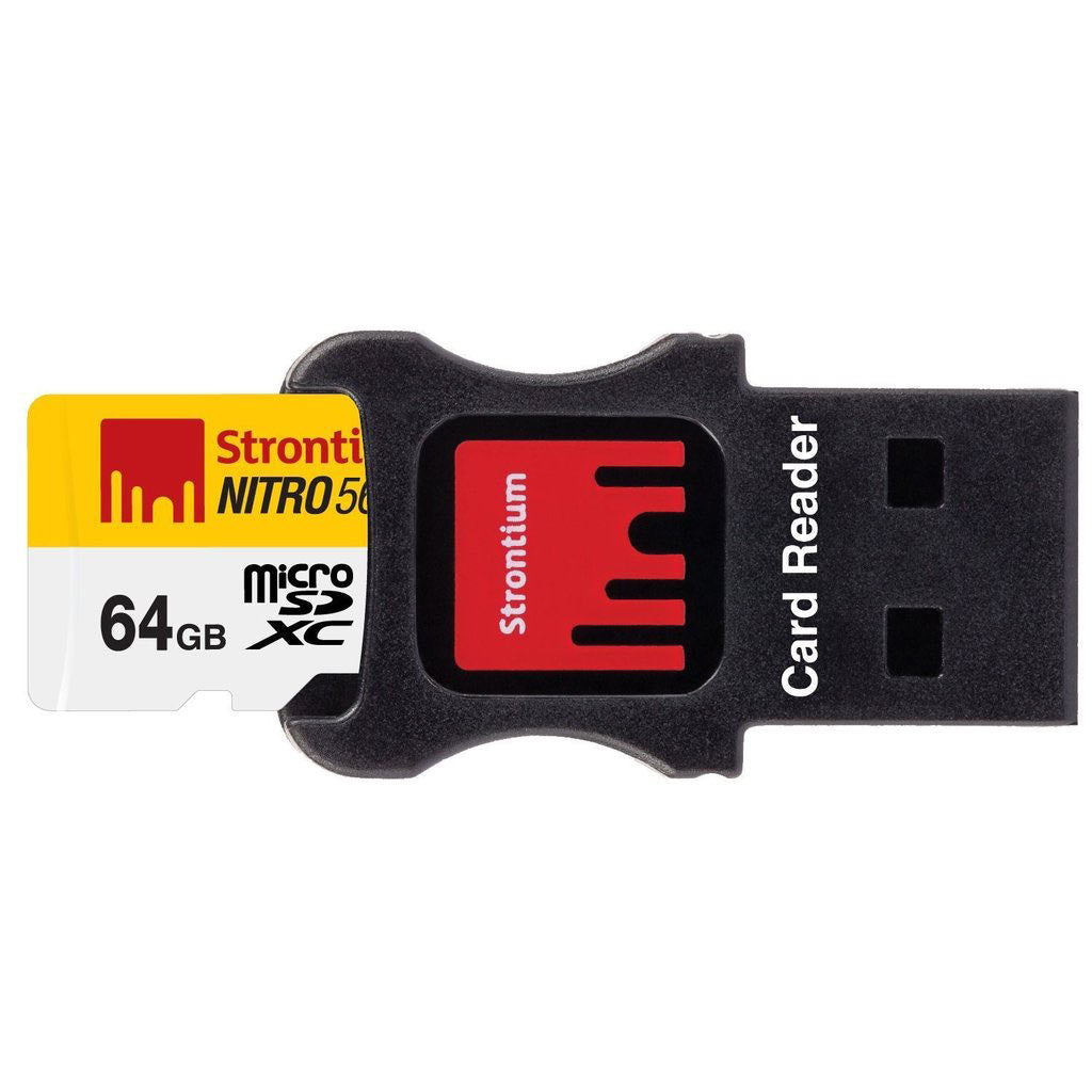 Shop Australia stock STRONTIUM NITRO 64GB MicroSDXC UHS-I MEMORY CARD WITH ADAPTER AND CARD READER UP TO 85MB/s with free shipping online. Shop Strontium collections with afterpay Australia Stock