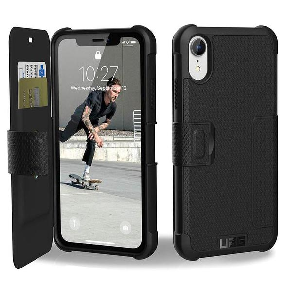 folio black case for iphone xr from uag with card slots