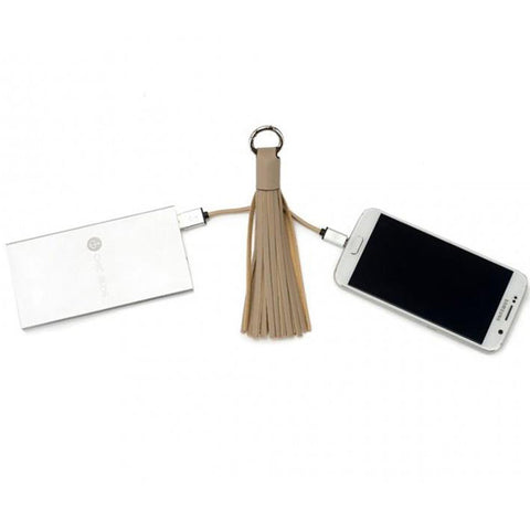 Chic Buds Tassel Keyring Charm Cable with Micro USB - Taupe