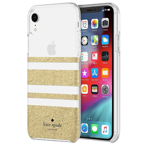 gold case for iphone xr from kate spade new york. charlotte stripe pattern. buy online and get free shipping.