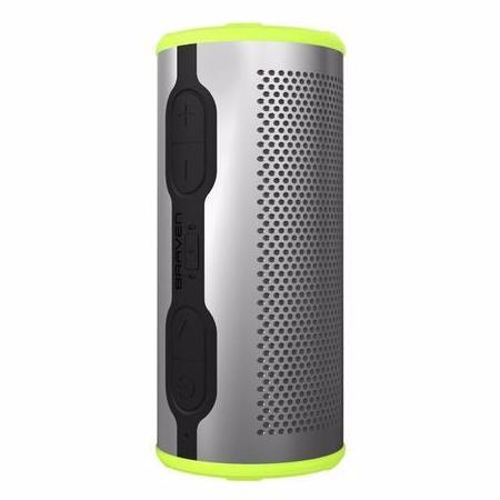 BRAVEN STRYDE 360 DEGREE SOUND WATERPROOF BLUETOOTH SPEAKER - SILVER/GREEN