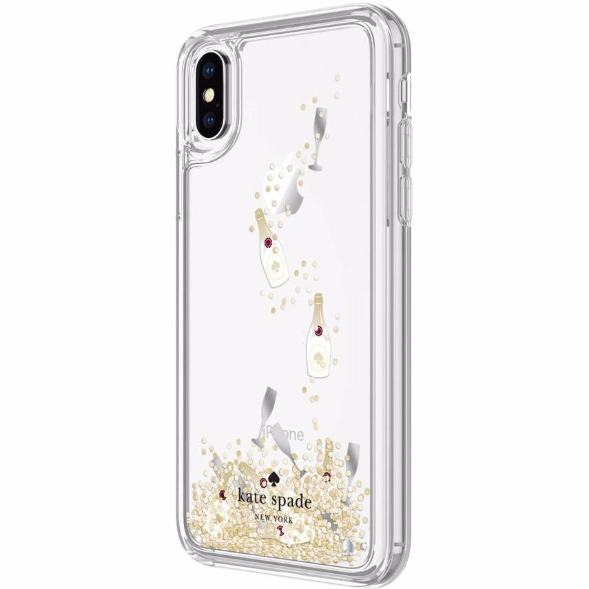 KATE SPADE NEW YORK LIQUID GLITTER CASE FOR IPHONE XS/X - CHAMPAGNE (CHAMPAGNE BOTTLE AND GLASS / GOLD GLITTER) Australia Stock