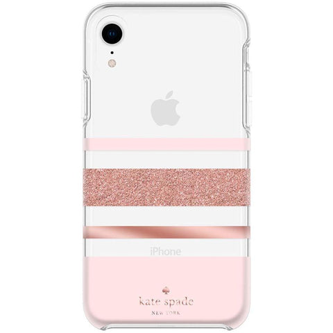 pink case for iphone xr from kate spade australia. hardshell stripe pattern. buy online and save only at Syntricate.