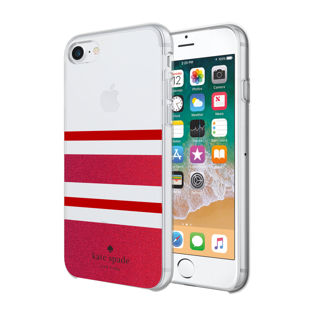 newest c7f39 bc900 KATE SPADE NEW YORK PROTECTIVE HARDSHELL CASE FOR iPHONE 8/7/6S - CHARLOTTE  STRIPE RED