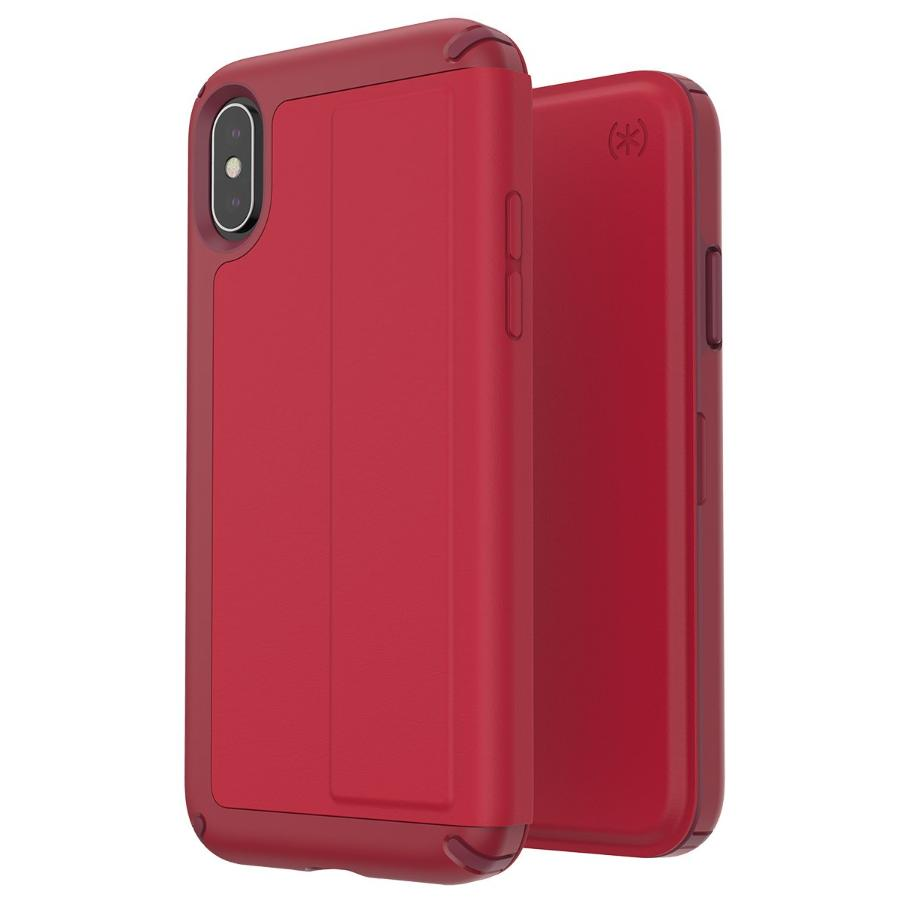 best website 46c2c ebed2 SPECK PRESIDIO CARD FOLIO LEATHER CASE FOR IPHONE XS/X - ROUGE RED