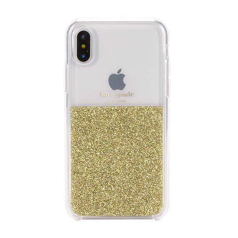 KATE SPADE NEW YORK HALF CLEAR CRYSTAL CASE FOR IPHONE XS/X - GOLD