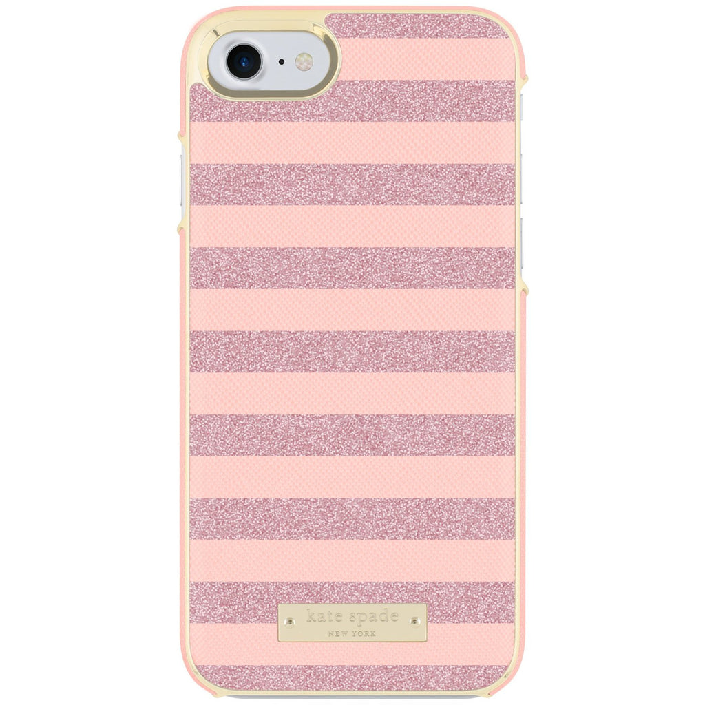 KATE SPADE NEW YORK WRAP GLITTER STRIPE CASE FOR iPHONE 8/7- ROSE QUARTZ SAFFIANO/ROSE GOLD Australia Stock