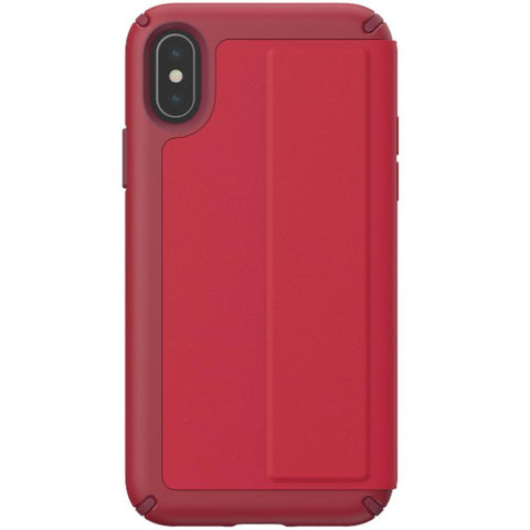 iphone xs max folio case leather card slot red color from speck. buy online and get free shipping