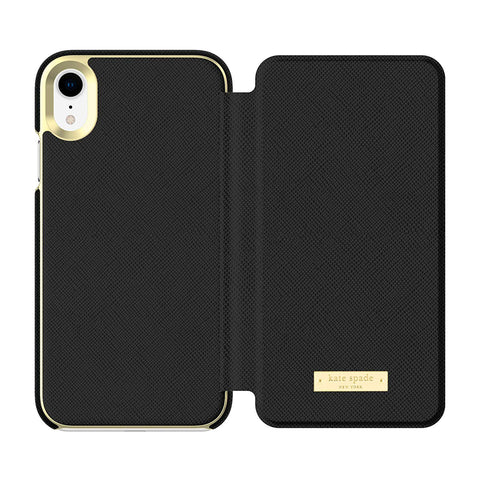 designer case with card slots fro iphone xs colour black from kate spade australia. shop online and get free shipping